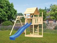 Akubi Spielturm Lotti Satteldach + Schiffsanbau oben + Einzelschaukel + Kletterwand + Rutsche in blau