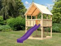 Akubi Spielturm Luis Satteldach + Rutsche violett
