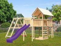 Akubi Spielturm Danny Satteldach + Rutsche violett + Doppelschaukelanbau Klettergerüst + Anbauplattform XL + Kletterwand