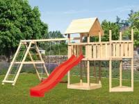 Akubi Spielturm Lotti Satteldach + Schiffsanbau oben + Anbauplattform + Doppelschaukel mit Klettergerüst + Rutsche in rot