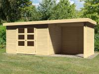 Karibu Woodfeeling Gartenhaus Askola 4 mit Anbaudach 2,25 Meter, Seiten- und Rückwand