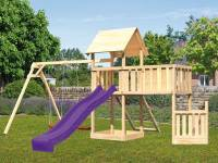 Akubi Spielturm Lotti + Schiffsanbau unten + Anbauplattform XL + Netzrampe + Doppelschaukel + Rutsche violett