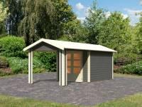 Karibu Woodfeeling Gartenhaus Tastrup 4 in terragrau mit Anbaudach 2,40 Meter breite