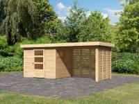 Karibu Woodfeeling Gartenhaus Oburg 3 natur mit Anbaudach 2,8 Meter inkl. Lamellenwände