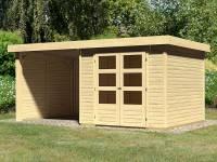 Karibu Woodfeeling Gartenhaus Askola 3 mit Anbaudach 2,25 Meter, Seiten- und Rückwand