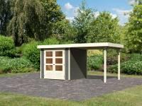 Karibu Woodfeeling Gartenhaus Askola 2 terragrau mit Anbaudach 2,40 Meter