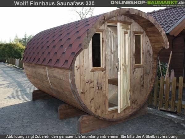 Wolff Finnhaus Saunafass 330 2-Raum montiert