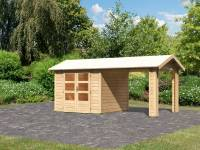 Karibu Woodfeeling Gartenhaus Tastrup 3 mit 1 Dachanbau 2,40 Meter