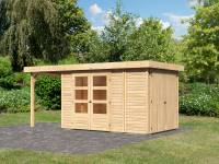 Karibu Woodfeeling Gartenhaus Retola 3 natur mit Anbauschrank und 1,50 Meter Anbaudach