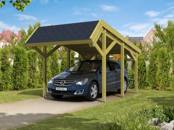 Skan Holz Carport Harz 321 x 560 cm mit schwarzen Schindeln