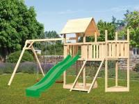 Akubi Spielturm Lotti Satteldach + Schiffsanbau oben + Anbauplattform + Doppelschaukel + Netzrampe + Rutsche in grün