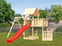 Akubi Spielturm Lotti + Schiffsanbau unten + Anbauplattform + Kletterwand + Einzelschaukel + Rutsche in rot