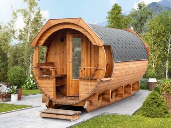 Wolff Finnhaus Saunafass Svenja 1 Premium Bausatz mit schwarzen Dachschindeln