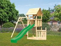 Akubi Spielturm Lotti + Schiffsanbau unten + Einzelschaukel + Rutsche in grün