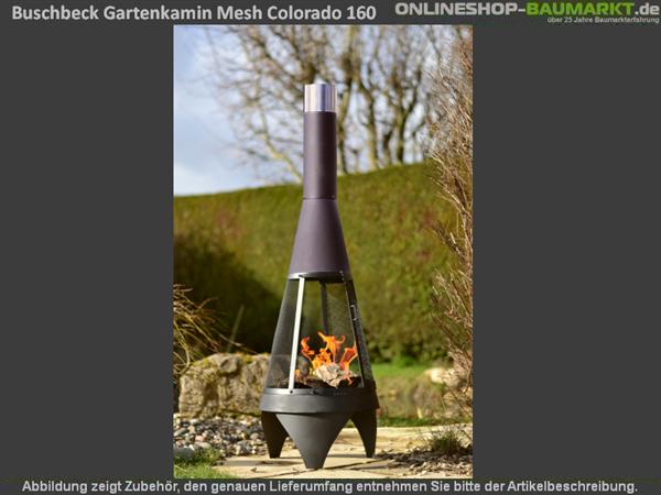 Buschbeck Gartenkamin Mesh Colorado 160 cm silber-schwarz