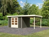 Karibu Woodfeeling Gartenhaus Askola 6 in terragrau mit Anbaudach 2,4 Meter