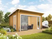Wolff Finnhaus Gartenhaus Trondheim 44-G XL mit Schiebetür naturbelassen