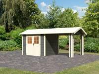 Karibu Gartenhaus Espelo 3 in terragrau mit einem Dachausbauelement 2,70 m