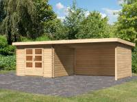 Karibu Woodfeeling Gartenhaus Bastrup 5 mit Anbaudach 4 Meter inkl. Rück- und Seitenwand
