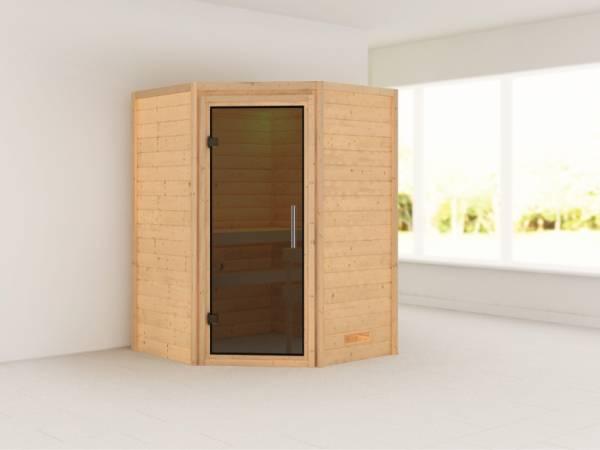 Alicja - Karibu Sauna Plug & Play ohne Ofen - ohne Dachkranz - Moderne Saunatür