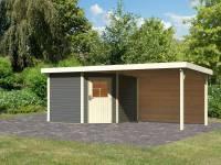 Karibu Woodfeeling Gartenhaus Neuruppin 3 terragrau mit Anbaudach 3,2 m inkl. Rückwand