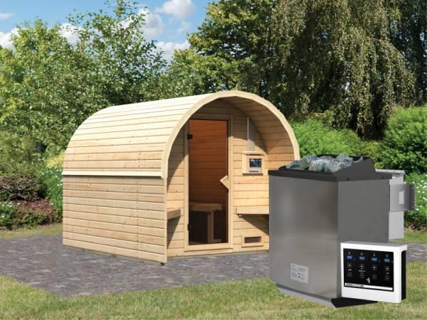 Karibu Fasshaus 2 mit 9 kW Bioofen ext. Steuerung