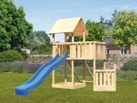 Akubi Spielturm Lotti + Schiffsanbau unten + Anbauplattform + Netzrampe + Rutsche in blau