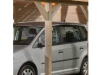 Weka Rückwand für Leimholz-Carports aus Bohlen in Cubilis-Optik