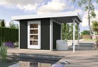 Weka Gartenhaus wekaLine 172 A Größe 1 anthrazit Anbau 150 cm