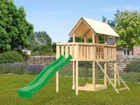 Akubi Spielturm Danny Satteldach + Rutsche grün + Anbauplattform + Netzrampe
