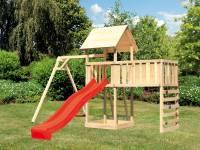 Akubi Spielturm Lotti Satteldach + Rutsche rot + Einzelschaukel + Anbauplattform XL + Kletterwand