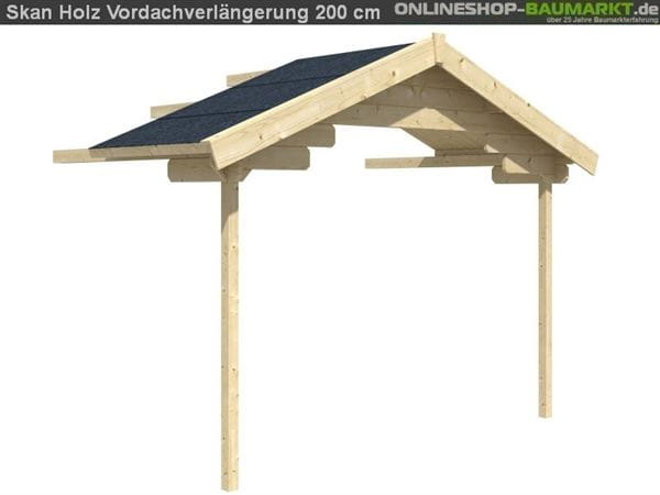Skan Holz Vordachverlängerung 200 cm für Malaga / Lagos