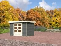 Karibu Aktions-Gartenhaus Jever 4 terragrau inkl. Fußboden und Dacheindeckung