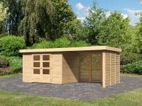 Karibu Woodfeeling Gartenhaus Askola 4 mit Anbaudach 2,8 m, Lamellenwände