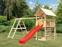 Akubi Spielturm Danny Satteldach + Rutsche rot + Doppelschaukelanbau Klettergerüst + Kletterwand