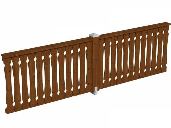 Skan Holz Brüstung für Pavillons 335 cm Balkonschalung in nussbaum