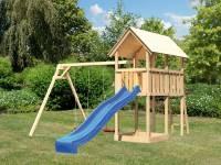 Akubi Spielturm Danny mit Doppelschaukel und Rutsche in blau