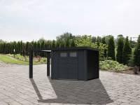 Wolff Finnhaus Metallhaus Eleganto 3024 Granitgrau inkl. 170 cm Seitendach links, Dachrinne und Fallrohr