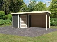 Karibu Woodfeeling Gartenhaus Schwandorf 3 terragrau mit Anbaudach 2,8 m inkl. Rückwand