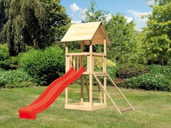 Akubi Spielturm Lotti mit Netzrampe und Rutsche rot