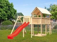 Akubi Spielturm Danny Satteldach + Rutsche rot + Doppelschaukel + Anbauplattform XL