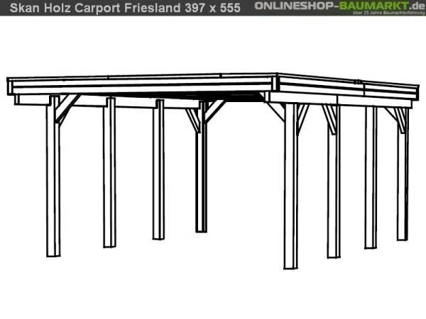 Skan Holz Carport Friesland 397 x 555 cm