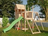 Akubi Stelzenhaus Frieda + Rutsche grün + Einzelschaukel + Anbauplattform + Netzrampe