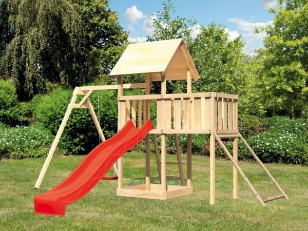 Akubi Spielturm Lotti Satteldach + Rutsche rot + Einzelschaukel + Anbauplattform + Netzrampe