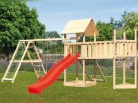 Akubi Spielturm Lotti Satteldach + Schiffsanbau oben + Doppelschaukel mit Klettergerüst + Anbauplattform XL + Netzrampe + Rutsche in rot