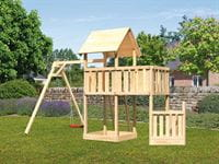 Akubi Spielturm Lotti + Schiffsanbau unten + Anbauplattform + Einzelschaukel
