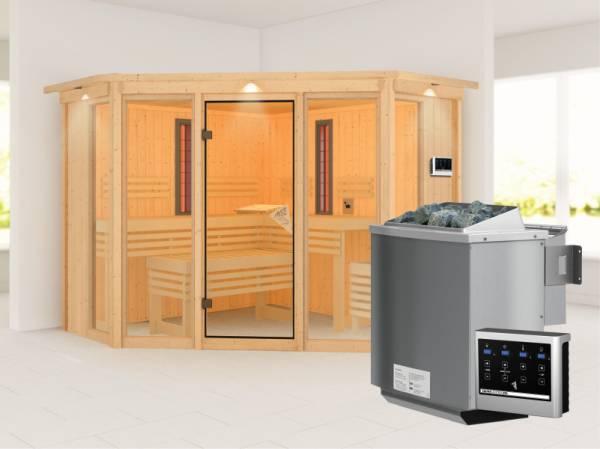 Karibu Multifunktions-Sauna Asta mit Dachkranz, 9 kW Bioofen und Infrarotstrahler