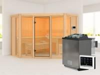 Karibu Sauna Alcinda mit 9 kW Bioofen Ext. Strg 68 mm