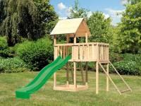 Akubi Spielturm Lotti natur mit Anbauplattform, Netzrampe und Rutsche grün