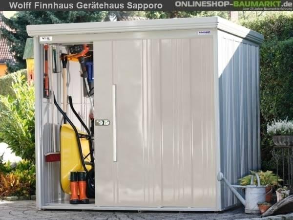 Wolff Finnhaus Sapporo 2219 cremeweiss Metall-Gerätehaus ohne Regale und Boden